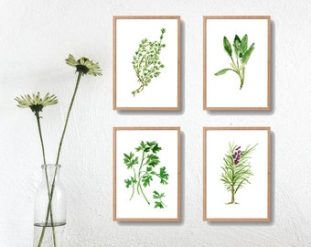 4 herbs art prints, Parsley Sage Rosemary and Thyme prints, kitchen art, wedding gift, Herbs watercolor paintings, mini art collection