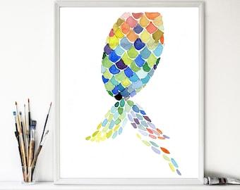 art print The Mermaid Tail, abstract geometric print, watercolor  painting, colorful modern print,beach cottage art, home decor, coastal