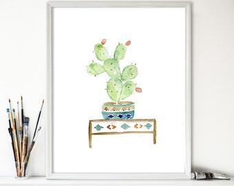 Cactus art print, watercolor cactus, cactus print, South west inspired art, cactus plant in decorative planter, home decoration, Cactus art