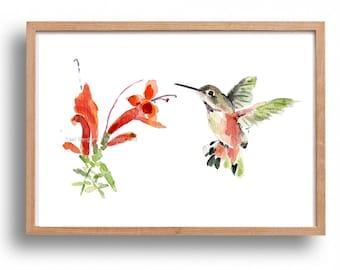 Hummingbird art print, hummingbird watercolor print, bird art, humming bird and flower, mothers day, nursery decor, bird lover, cottage chic