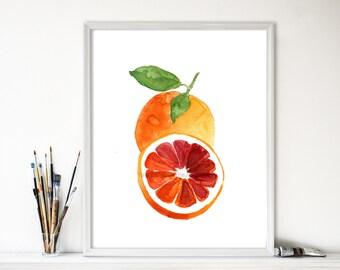 Blood orange number three art print, Orange watercolor print, Kitchen art, citrus art, Botanical painting, minimalist, orange green