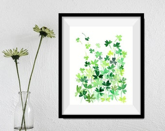 Clover Field art print , print of watercolor, clovers meadow art, Shamrock print, St Patrick's day, luck of the Irtish, Kelly green