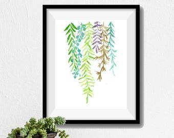 Art print Abstract Ferns, ferns watercolor print,  Plants art, abstract leaves art, fern leaves print, modern art, ferns art, fresh colors
