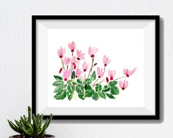 Cyclamen plant art Print, Cyclamen watercolor print, Still Life, cyclamen print, watercolor painting, mother's day, pink, green, plants art