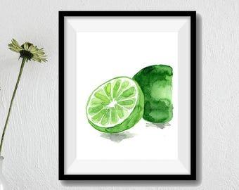 Lime art print, lime watercolor print, green, citrus print,  kitchen art, fruits art, botanical study, minimalist art, home decor