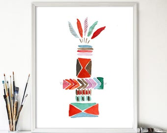 Totem 1 art print, Tirbal inspired print, watercolor painting, nursery art, feathers, southwestern art print, colorful art, nursery decor