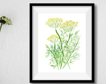 Dill art  print, Dill watercolor painting, Herb print,  Plants print, Botanical herb art, kitchen decor, foodie gift, mothers day, green