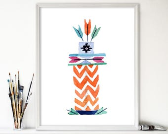 art print Totem no. 5 arrows, watercolor print ,kids room art, modern tribal art, nursery decor, Southwest print, boys room, thejoyofcolor