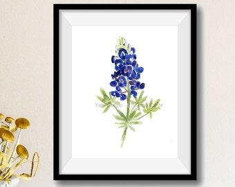 art print Bluebonnet, Blue bonnet watercolor print,  wild flower art, Texas state flower, botanical watercolor, blue bloom, flowers artwork