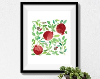 Pomegranates art print, Pomegranate watercolor print, fruit art print, kitchen art, Judaical art, Rosh Hashanah, garnet red, Green leaves