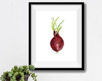 Red onion print, kitchen art,  red onion watercolor print, botanical art, burgundy red, minimalist art, onion watercolor, thejoyofcolor, art
