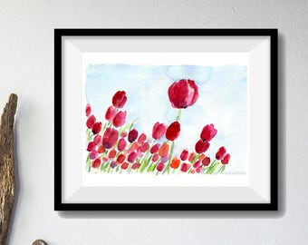 Art print Tulips Field 2, print of watercolor, floral art, Fuchsia, red, modern art, mothers day, nature lovers, tulips print, landscape art