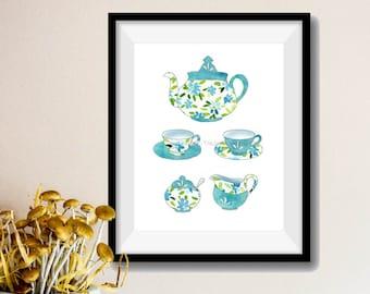 Tea for two Art Print, Tea cups watercolor print, Kitchen art, tea pot print, Mother's Day, floral art,  turquoise, housewarming gift