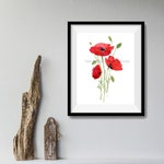 Red poppies print, poppies art print, watercolor print, flowers, floral art, Red, Poppies watercolor, Poppies flowers print, homedecor