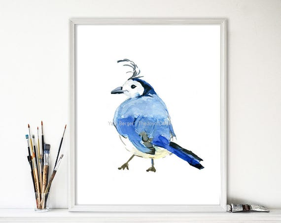 Blue Bird Folk Art-Print//Poster-Colorful Blue Bird  11x14 inch