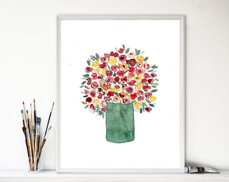 Colorful Bouquet Art Print Watercolor Print Flower Bouquet Etsy