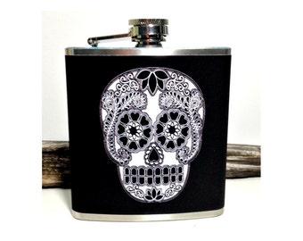 Sugar Skull Flask, Day of the Dead Skulls, Dia de los Muertos, Bridesmaid Flask, Edgy Groomsmen, Wedding Gift