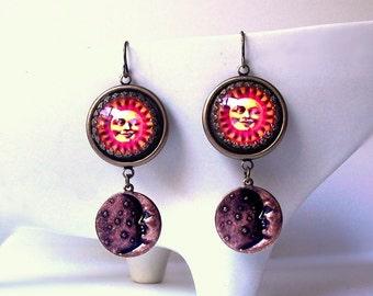 Sun and Moon Tarot Dangle Earrings Celestial Jewelry Antique Brass Moon Charm Drops Handmade Cameo