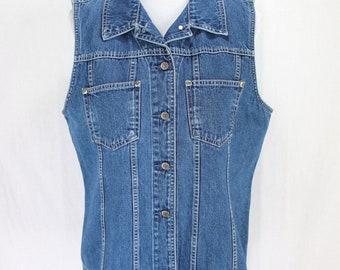 Eddie Bauer Denim Jean Vest Sz L Blue Medium Wash Button Front Back Buckle
