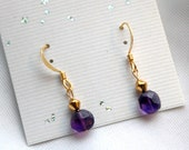 PINEAL POWER - Faceted Purple Amethyst Earrings Emotional Clarity, Reiki Charged, Gold Plated