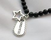 "STAR FIRE, 17"" Natural Lava Stone Necklace with Kindness & Star Charms, Reiki Charged"