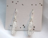 INNER CLARITY - Silver-wrapped Lemurian Seed Quartz Earrings, Reiki Charged
