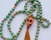 ANCESTRAL WISDOM Mala, 108 Bead Hand-Knotted Magnesite & Copper Yoga Prayer Beads for Meditation and Health, Reiki Charged