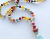 MANY BLESSINGS MALA, 108 Bead Hand-Knotted Multi-Stone Yoga Prayer Beads for Meditation and Ascension, Reiki Charged