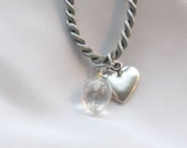 CLEAR LOVE, Quartz Pendant & Silver Heart Charm on Silver Satin, Reiki Charged