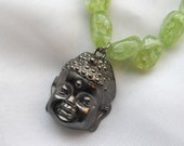 EARTH BUDDHA, Happy Buddha Pendant on 18-inch Ice Quartz Necklace with Little Buddhas, Reiki Charged