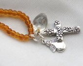Amber Necklace with Floral cross, angel and quartz charms, Reiki Charged for Inflammation and Pain Relief, 17""