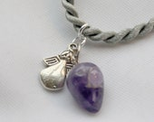 MY GUARDIAN ANGEL, Amethyst Pendant & Silver Angel Charm on Silver Satin, Reiki Charged