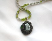 I AM the EARTH PROTECTED, Hematite clay wrap pendant on green beaded 24-inch necklace, Reiki Charged