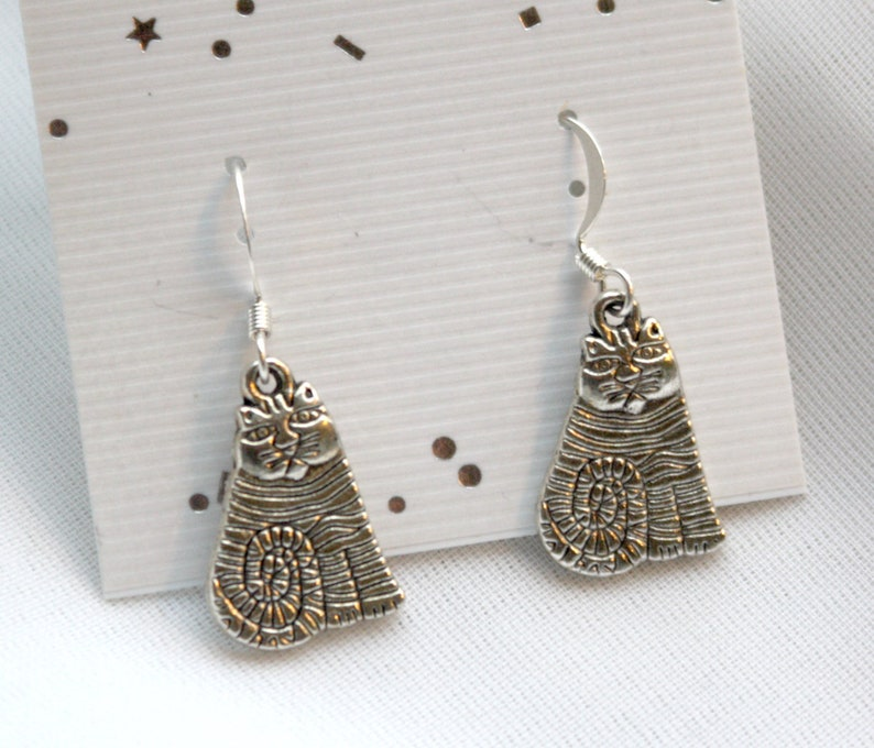 CAT FRIENDS  Silver Plated Cat Earrings Reiki Charged image 0