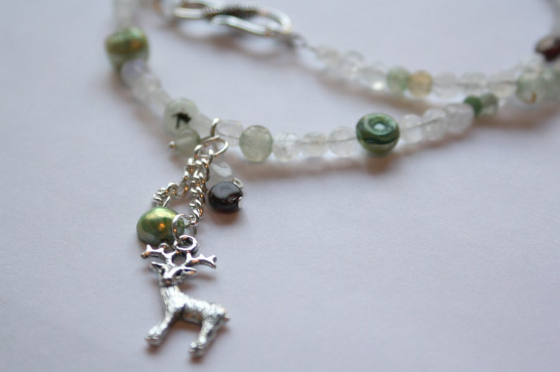 Forest Patronus Stag with Moonstone Freshwater Pearl Garnet image 0