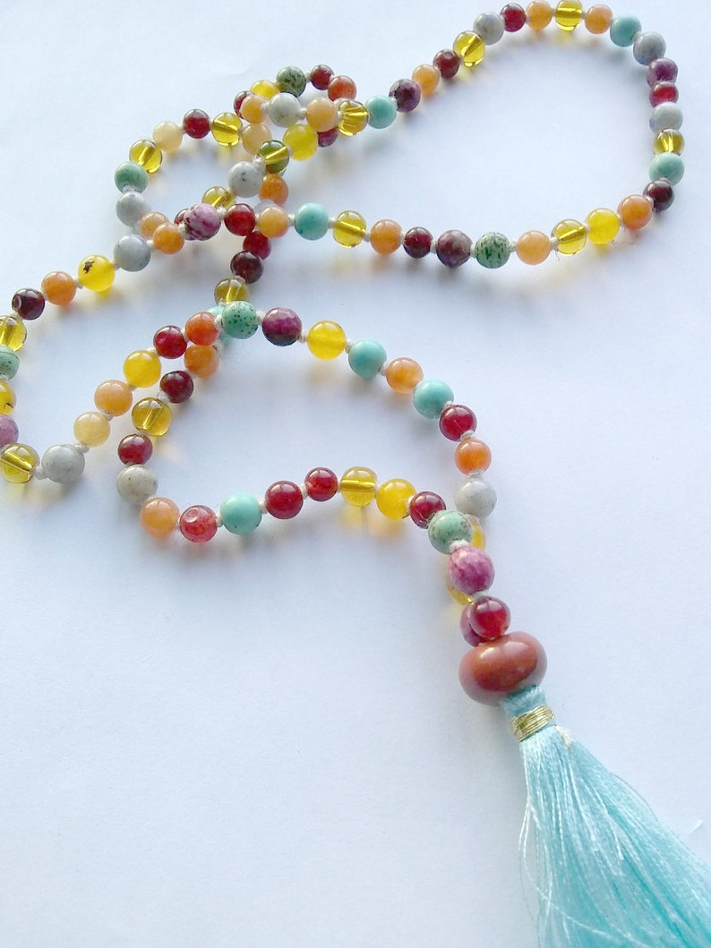 MANY BLESSINGS MALA 108 Bead Hand-Knotted Multi-Stone Yoga image 0