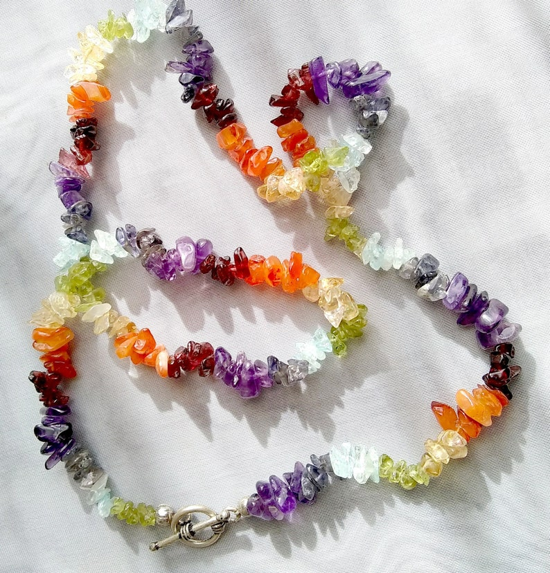RAINBOW POWER Chakra Clearing and Healing Gemstone Necklace image 1
