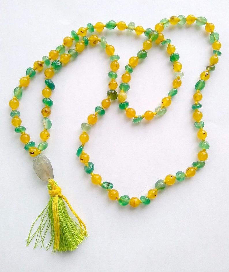 APPETITE FOR JOY Mala 108 Bead Hand-Knotted Quartz & Agate image 0
