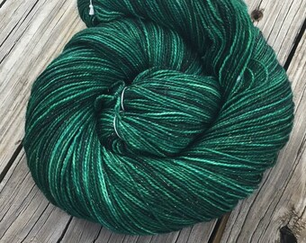 Sparkle Sock Treasure of the Emerald Isle Hand Dyed Hand Painted green sockyarn 438 yards superwash merino nylon stellina fingering