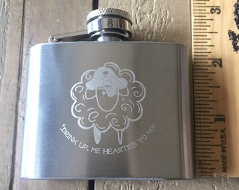 Pirate Sheep Engraved Flask Stainless Steel 2 oz knitting knitter mini flask drink up me hearties yo ho treasuregoddess