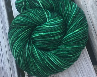 Treasure of the Emerald Isle Hand Dyed Green Worsted Weight Yarn Painted 218 yards Superwash Merino Wool Dark Christmas Green ready to ship