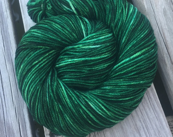 Treasure of the Emerald Isle Hand Dyed Green Worsted Weight Yarn Hand Painted yarn 218 yards Superwash Merino Wool Dark Christmas Green