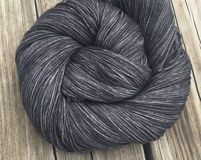 Hand Dyed Sock Weight Yarn Ghost Ship Gray 463 yards Treasured Toes fingering superwash merino nylon swm charcoal ready to ship yarn grey