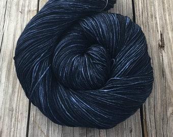 Hand Dyed Sock Yarn Davy Jones' Locker 463 yards dark navy blue fingering weight Treasured Toes swm midnight blue ready to ship yarn