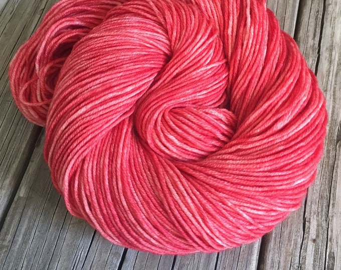 Hand Dyed DK Yarn Coral Reef Light Red Painted yarn 274 yards dk sport weight Superwash Merino Wool swm coral rose red ready to ship yarn