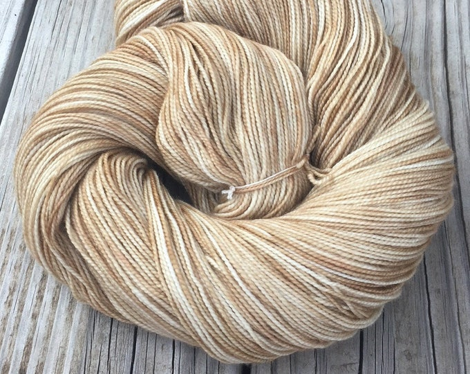 hand dyed sock weight yarn Sandy Beach Shawl Length Skein Superwash Merino Cashmere Nylon MCN 600 yards weight tan brown ready to ship yarn