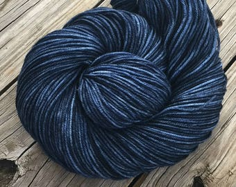 Hand Dyed DK Yarn Fathoms Deep Navy Blue Hand Painted yarn 274 yards dk sport weight Superwash Merino Wool swm midnight ready to ship yarn