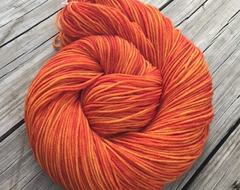 Hand Dyed DK Yarn Lusty Wench Orange Hand Painted yarn 274 yards handdyed dk sport weight Superwash Merino Wool swm pumpkin tangerine