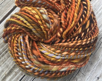 Orange You A Pirate Too? Handspun yarn Wool Blends Yarn Bulky pumpkin orange gold green gray blue Two Ply 2 Ply 96 yards ready to ship