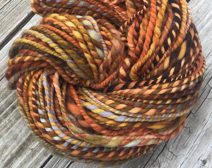 Orange You A Pirate Too? Handspun yarn Wool Blends Yarn Bulky pumpkin orange gold green gray blue Two Ply 2 Ply 96 yards ready to ship